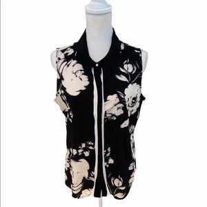 Calvin Klein sleeveless floral black/cream blouse